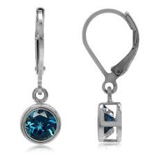 2.04ct. 6MM London Blue Topaz Bazel Set 925 Sterling Silver Leverback Earrings