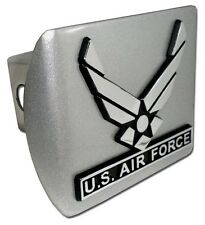 US Air Force Wings Brushed Chrome Trailer Hitch Cover High Quality Made in USA!
