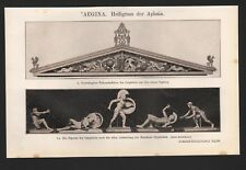 Lithografie 1910: AEGINA. Heiligtum der Aphaia. Furtwängler