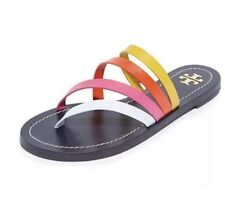 NIB Tory Burch Patos Leather Sandals Flats Slides Flip Flops Shoes  Size 8