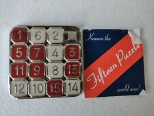 Vintage Fifteen Puzzle Brain Game Binary Arts Corp 2000 Metal and Enamel