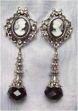 ^v^Ohrschmuck*Tiny Cameo*Gothic*earrings*Burlesque*Strass*schwarz*Ohrstecker^v^