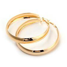 18K Rose GOLD GF Elegant Large Hoop High Polished Ladies Dangle Solid Earrings