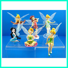 6 pcs Tinker Bell Fairies Cake Toppers Princess Figures Dolls Party Toy + CHARM