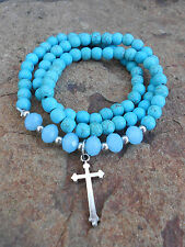 """'COWGIRL CANDY""""  - TURQUOISE CROSS WESTERN STETCH BRACELET - BRAND NEW"""