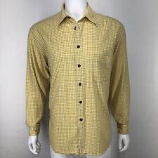 Canali Mens 16.5 42 Shirt Yellow Windowpane Plaid Flannel Button Down
