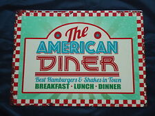The American Diner Retro Large Picture Metal Sign Hamburgers & Shakes Plaque