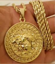 Gold Plated Medusa Versace Style Necklace Pendant Rope Chain Hip Hop Bling