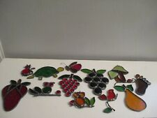 12 Vintage Stained Glass Sun Catchers Fruit, Animals, Bugs, Mushroom & More