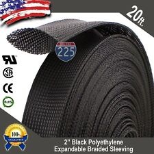 """20 FT. 2"""" Black Expandable Wire Cable Sleeving Sheathing Braided Loom Tubing US"""
