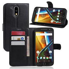 Wallet Card Holder Flip Stand Leather Case Cover For Motorola Moto G4 / G4 Plus