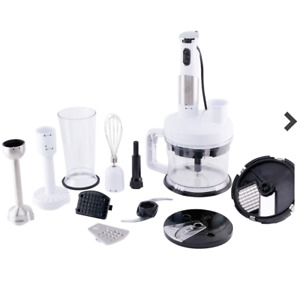 NEW, Wolfgang Puck 7-in-1 Immersion Blender w/ 12-Cup Food Processor in White
