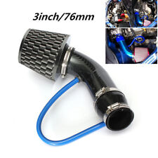 "Carbon Fiber Car Truck Racing 3""  Cold Air INTAKE FILTER+Pipe+Filter+Clamp Kits"