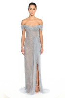 NWT Marchesa Couture Off Shoulder Fully Embellished Tulle Gown