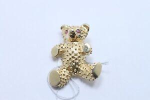 RUSER RETRO 18K GOLD TEDDY BEAR PIN