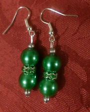 Drop  silver plated earrings , pearl effect green , tibetan,stoned spacer(171)