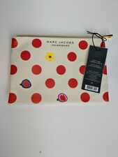 MARC JACOBS makeup pouch case cosmetic bag clutch canvas red Polka Dot