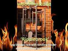 Fire Wood Rack / Holder/Indoor Log Storage 'Ripplebrook' with Fireplace Tool set