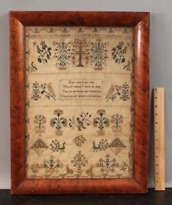 Antique American Alphabet Poem Adam & Eve & Bird's Sampler Needlepoint NR