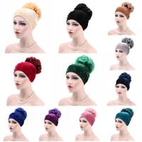 Muslim Hat Velvet Flower Pearl Headwear Turban Womens HIjab Cancer Hair Loss Cap