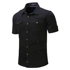New army Double pocket Men's Casual short sleeve shirt Epaulet outdoors MD128