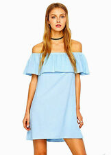 NEW MODCLOTH OFF THE SHOULDER RUFFLE LIGHT BLUE DRESS VERY CUTE FITS M-L