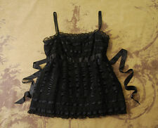 Anthropologie Anna Sui Black Lace Ruffle Sleeveless Blouse Tank Top 4 S