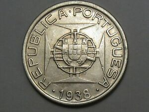 AU 1938 Silver 5 Escudos Coin of Portuguese Mozambique. KM-69.  #13