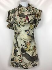 NWT $250 All Saints Spring Forest Nami Silk Dress UK 6/ US 2 Birds & Butterflies