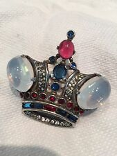 1940'S Sterling Jewel Crown Brooch Signed TRIFARI #137542