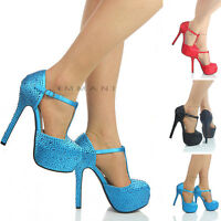 NEW WOMENS LADIES HIGH HEEL HIDDEN PLATFORM EVENING PARTY SANDALS SHOES SIZE
