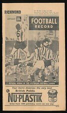 1967 VFL Football Record Richmond v Essendon April 15 Tigers Bombers