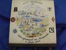 D-Day Normandy Ceramic Tile,50th Anniversary on Wood Easel, 1994, Czech Republic