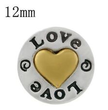Silver Gold Heart Love 12mm Mini Petite Snap Charm Button For Ginger Snaps