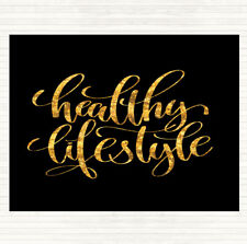 Black Gold Healthy Lifestyle Quote Dinner Table Placemat
