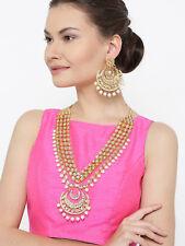 Indian Diwali Festival White Raani Haar Kundan Pearl Necklace Earring Set Jewel
