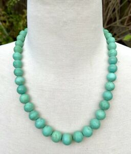 """Chinese Export Vtg Antique Turquoise Round Sphere Beads Necklace 13mm 20"""" 87 Gm"""