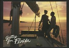 Postcard Greetings from Florida FL Advertising housing sailboat sunset chrome