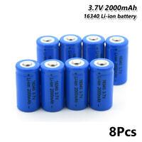 8Pcs Rechargeable 16340 Li-ion Battery 3.7V 2000mAh For Flashlight Headlamp 228