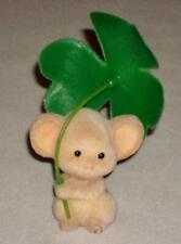 1983 Hallmark Merry Miniature St. Patrick's Day Flocked Mouse Shamrock Umbrella!