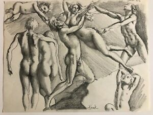 "Vintage JOSEF M. KOZAK Original Work of Art Drawing ""EXPRESSION"" Signed Unframed"