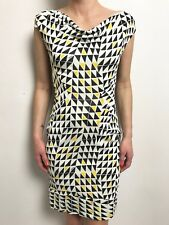 DIANE VON FURSTENBERG BLACK YELLOW WHITE PRINT SLEEVELESS COWL NECK DRESS SZ 8