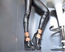 Sexy Damenschuhe PartyPlateau Pumps Keilabsatz  High Heels Schwarz 35/40