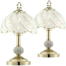 Traditional Table Lamps Set of 2 Brass Floral Glass for Living Room Bedroom
