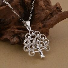 Necklace Chain Beautiful Tree of Life Ladies 925 Sterling Silver Vintage Pendant