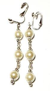 Long Silver Cream Pearl Clip-On Earrings Drop Dangle Glass Bead Classic Style