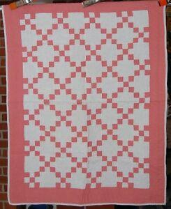 Vintage 30's Dusty Rose/Pink Nine Patch Postage Stamp Antique Crib Quilt ~NICE!