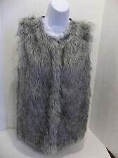 new nwt Evan Picone faux fake fur sweater vest med womens medium M zipper zip