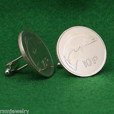 Irish Coin Cufflinks, Salmon Fish 10 Pence (Large) Ireland