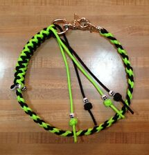 Motorcycle Get Back Biker Wallet Whip USA Made Paracord Black and Neon Green